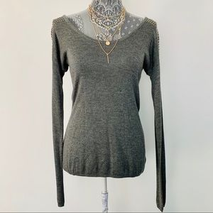 EXPRESS Studded Long Sleeve Grey Sweater Top